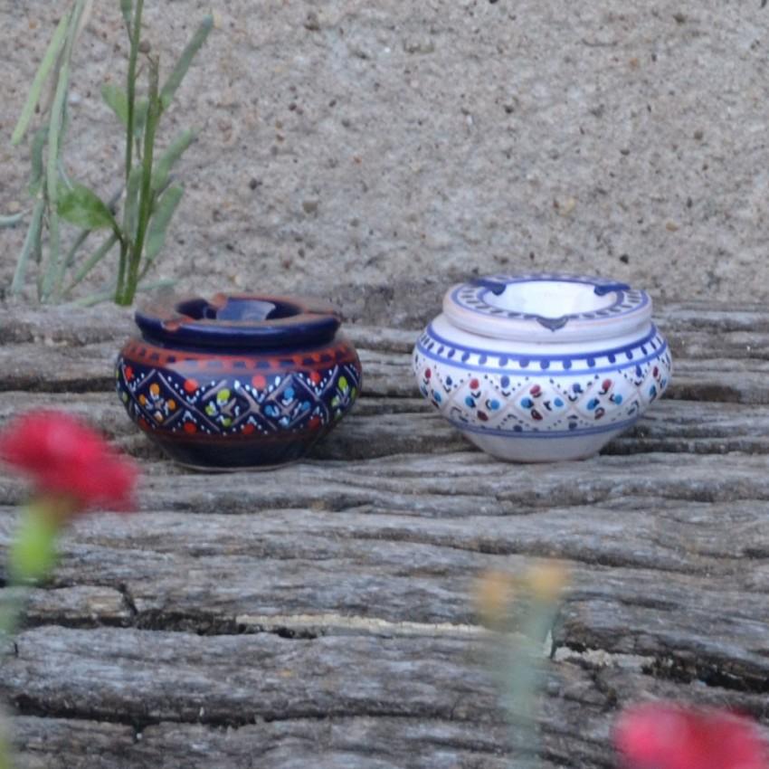 Lot 2 mini cendriers Marrakech bleu nuit et blanc - Mini modèle