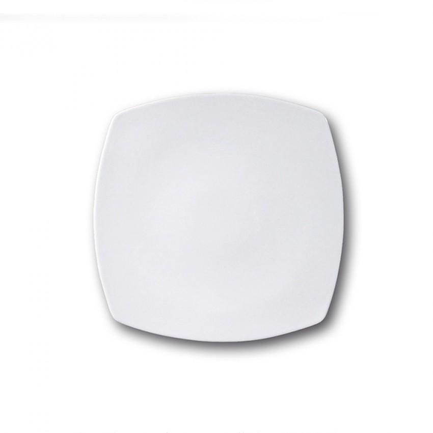 Assiette carrée en porcelaine blanche - L 24 cm