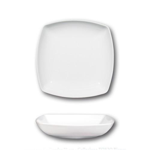 Assiette creuse en porcelaine blanche - L 21 cm