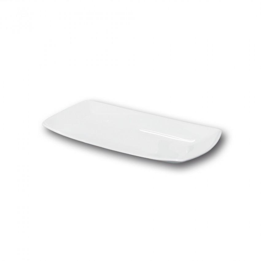 Assiette rectangulaire porcelaine blanche - L 25 cm - Tokio