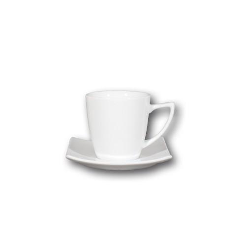 Service à café 6 grandes tasses porcelaine blanche - Tokio