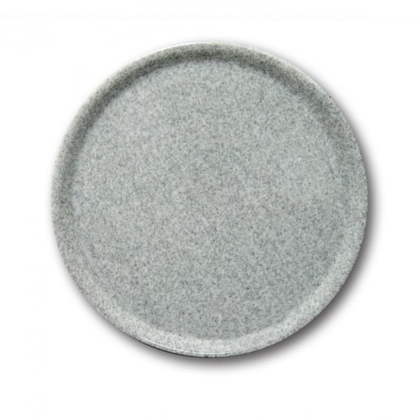 Assiette à pizza porcelaine colorée - D 31 cm - Moucheté gris