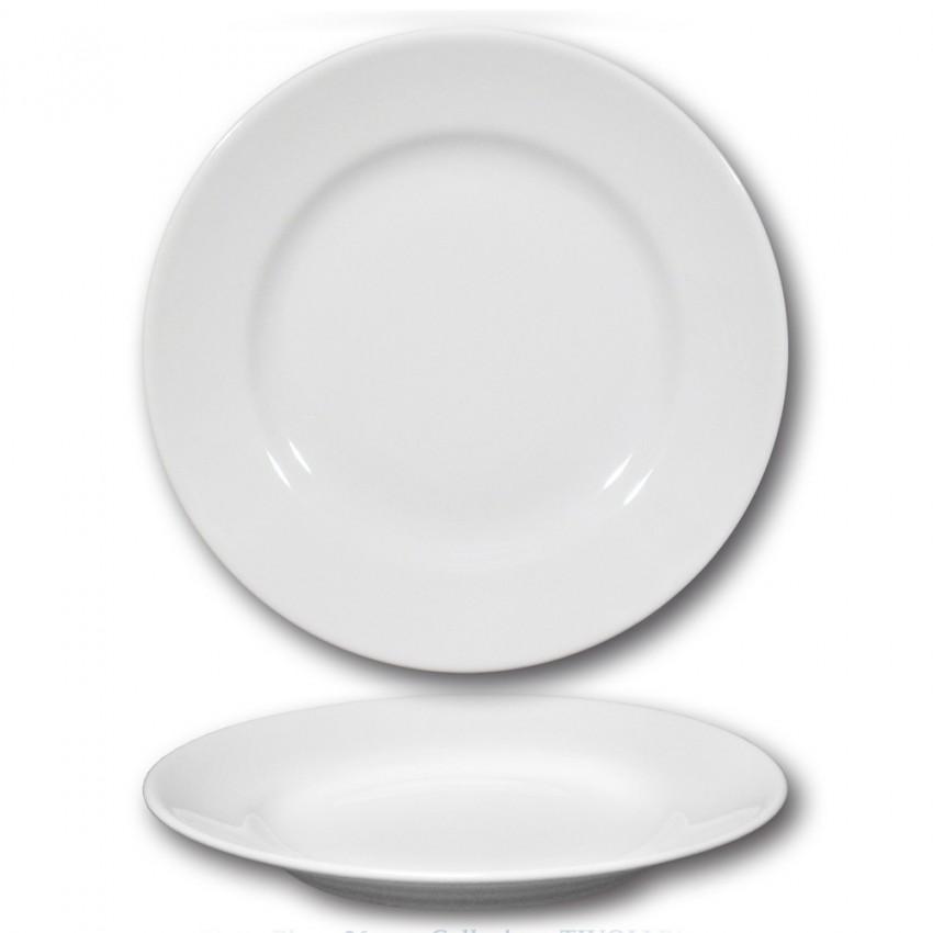 Lot de 6 assiettes plates porcelaine blanche - D 26 cm - Tivoli