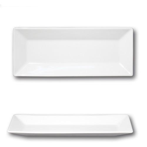 Assiette rectangulaire porcelaine blanche - L 34 cm - Kimi