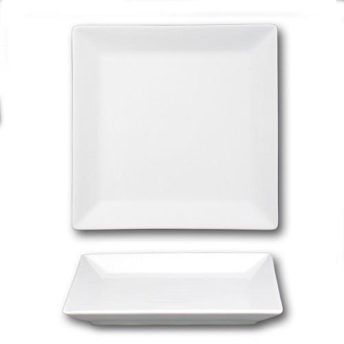 Lot de 6 assiettes carrées porcelaine blanche - L 27 cm - Kimi