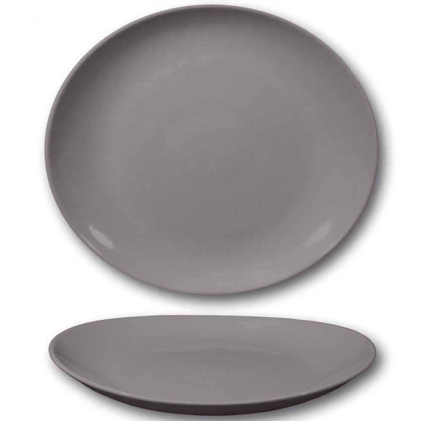Assiette à steak porcelaine couleur gris - D 30,5 cm - Tivoli