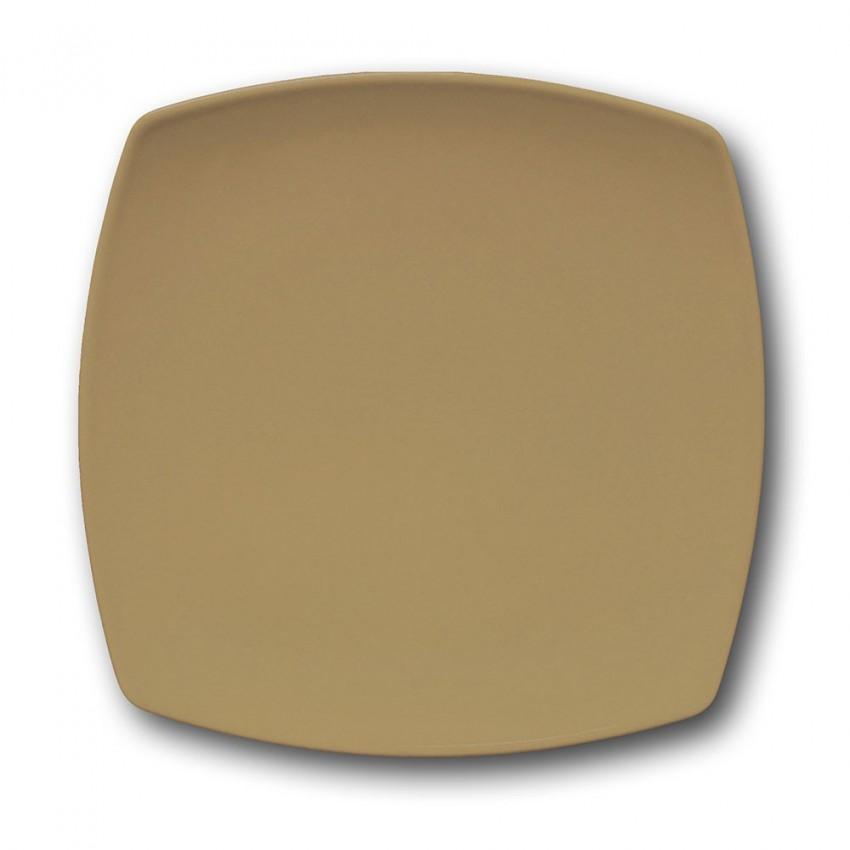 Lot de 6 assiettes plates carrées couleur Marron - L 26 cm - Tokio
