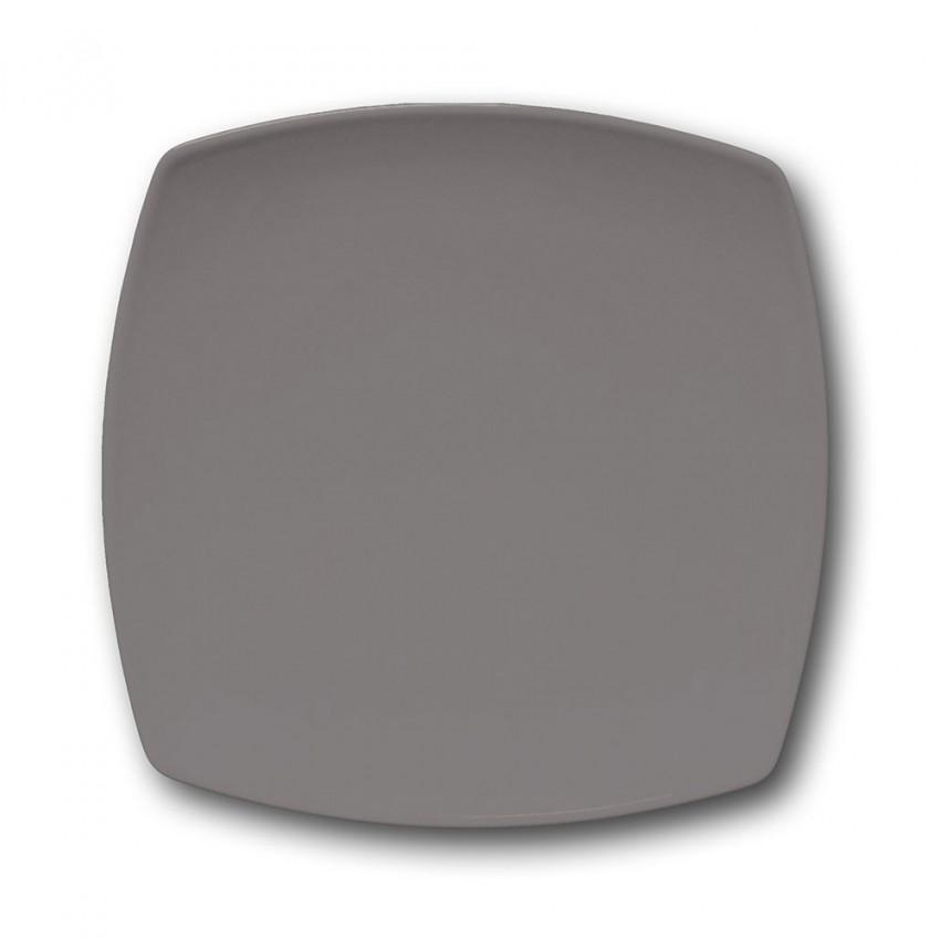 Lot de 6 assiettes plates carrées Gris - L 26 cm - Tokio