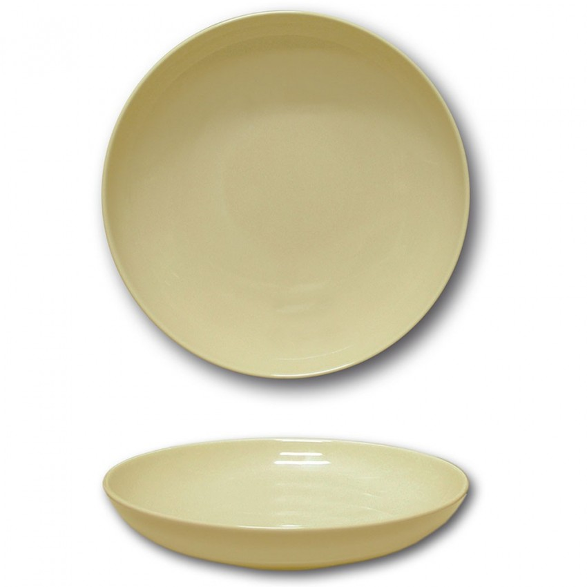 Assiette creuse porcelaine couleur Crème - D 22 cm - Siviglia