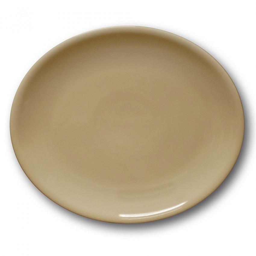 Assiette ovale porcelaine couleur Marron - L 28 cm - Siviglia